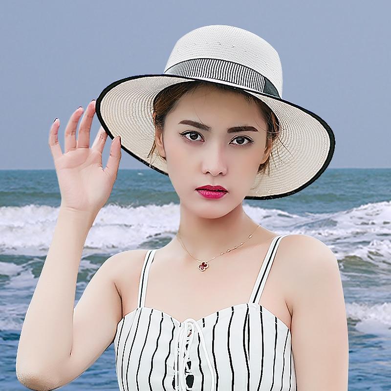 Sedancasesa 2019 chapeaux de soleil pour femmes à la main Bowknot Sombreros Vintage ivoire été visière casquettes Anti-UV Chapeu extérieur mer plage