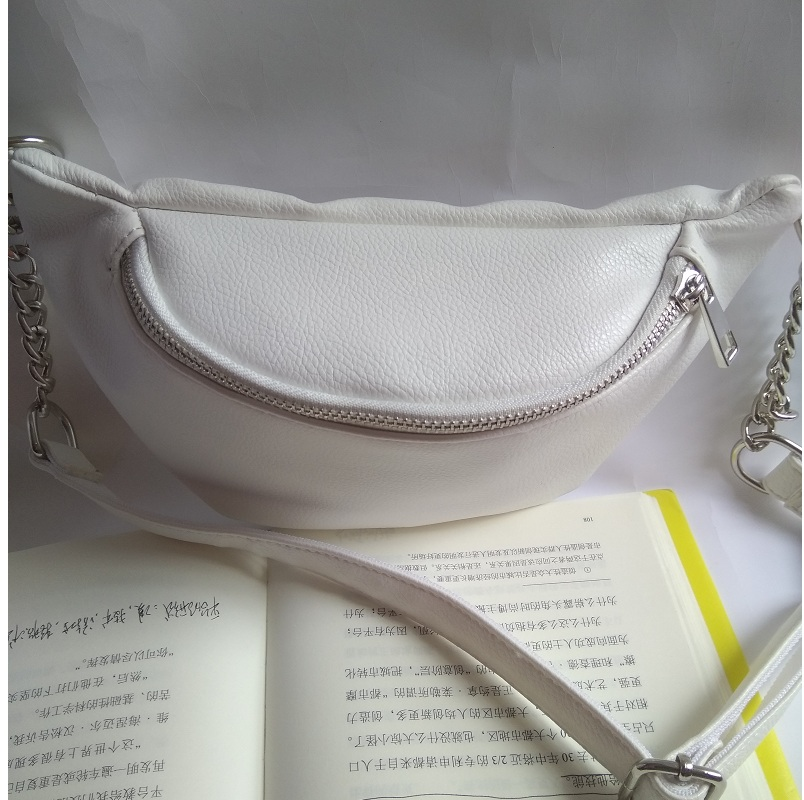 Caker 2018 Women PU Leather Waist Bag White Black Fanny Waist Pack Ladies Pillow Chain Belt Bags shoulder bag chest bag in Waist Packs from Luggage Bags