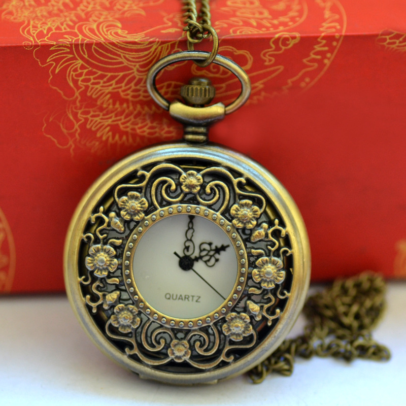 Classical Retro Design Hollow Perspective Design Openwork Flower Bronze Pocket Watch With Necklace