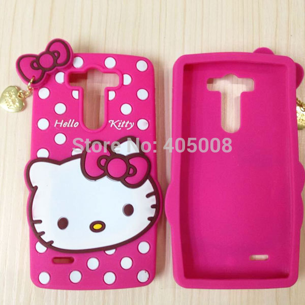 online store fa964 43d5a US $7.9 |3D Cute Cartoon Bow Hello Kitty Rubber Mobile Phone Cases Cover  For LG Optimus G3 Mini G3 Beat D728 D725 D722 D729 Silicone Case on ...
