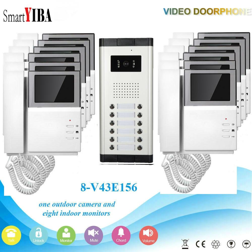 SmartYIBA 12 Units Visual Home Household Apartment Doorbell Intercom Kits Multi Wired Apartment IR Camera Video Door Phone my apartment