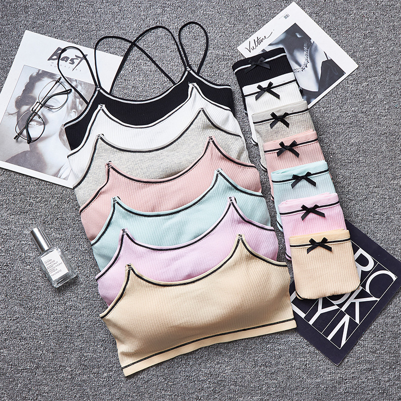 Japanese Lingerie   Set   Cotton Thin Screw Thread Push Up   Bra     Set   Beauty Back Women   Bra   Panties   Set   Comfort Underwear