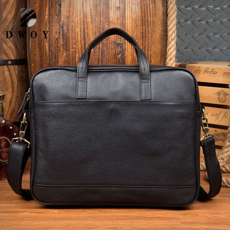 Business Briefcase Genuine Leather Famous Brand Men Briefcase, 15 Inch Commercial Laptop Briefcase, Cross-body Shoulder Bag