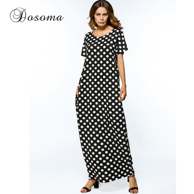 b92dcf1ee5 Casual Muslim Abaya Cotton Maxi Dress Print Dot Loose Style Robe Summer  Moroccan Burka Kaftan Hijab Islamic Middle East Arab