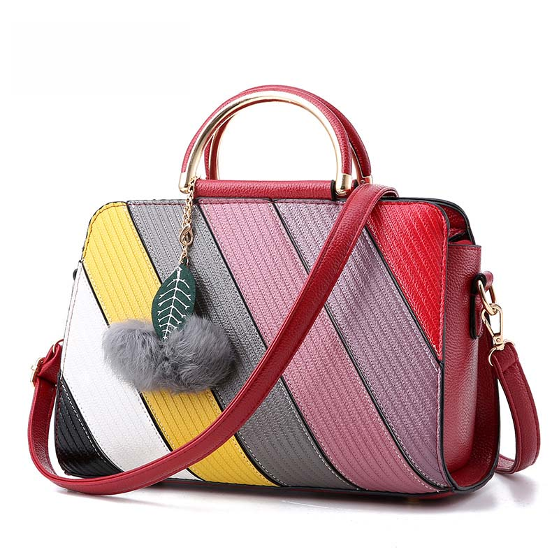 2017 New Ladies Handbag Candy Colors Patchwork Women Shoulder Messenger Bags Fem