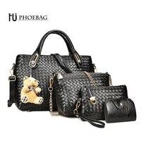 HJPHOEBAG SıCAK moda lüks kadın Çantası 4 parça çanta + cüzdan yüksek kaliteli Örme tasarım bayanlar çanta siyah çanta HJ-626
