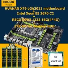 HUANAN V2.49LGA2011 X79 placa base CPU RAM HDD Xeon E5 2670 C2 combos CPU RAM 16G (4*4G) SATA3 DDR3 ECC REG 1 TB de escritorio DISCO DURO