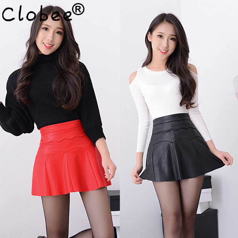 New 2020 Russia Fashion Black Red high quality leather Skirt Women Vintage High Waist Pleated Skirt Female Short Skirts(China)
