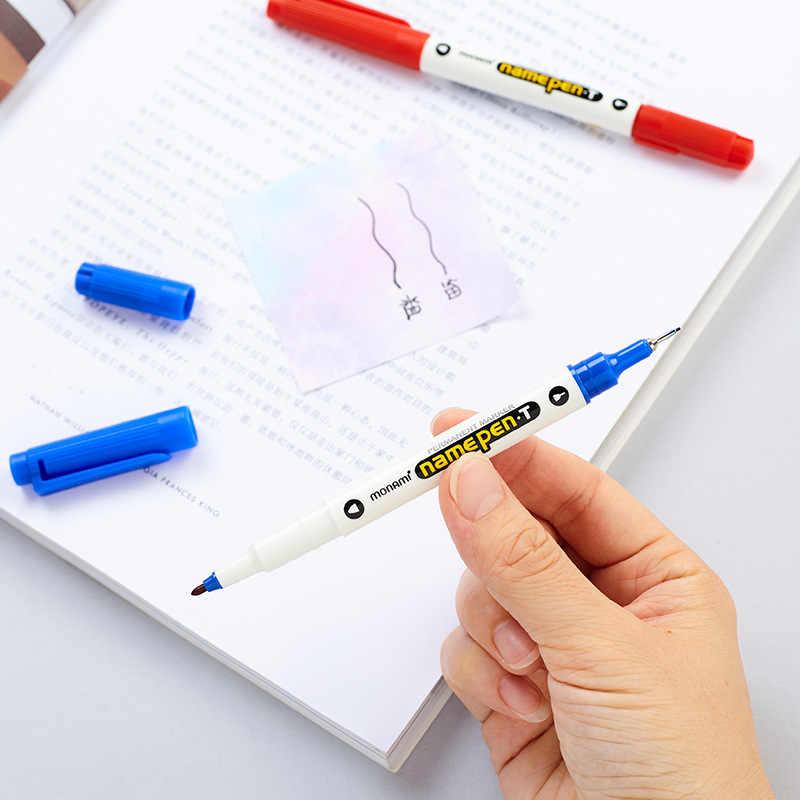 3Pcs/set Korean Stationery Double Headed Fluorescent Gel Pens Monami Plus Pen Cute Material Color Marker Pen for Office School