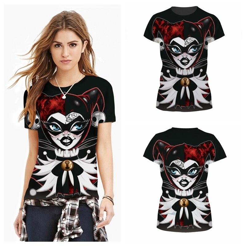 ①Venta superior poker reina Camisas mujeres negro dibujos animados ...