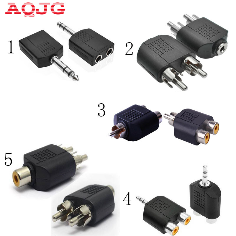 AV Connctor 6.5mm to 3.5mm Splitter RCA 3.5  Stereo Female Jack to 2 RCA Male plug Adapter Headphone Y Audio Adapter 3.5 to AV imc hot 5pcs rca av audio y splitter 1 male to 2 female plug adapter new
