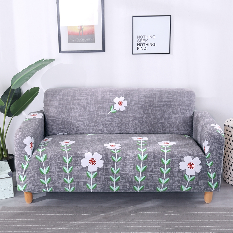 2018 New Cheap Grey Pastoral Style Flowers L Shape Sofa