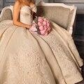 2015 Glamorous Vestidos bordados mangas vestido de baile vestido de casamento do Vintage Off The Shoudler vestido de noiva