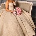 2015 Glamorous bordado Vestidos sin mangas balón vestido Vintage vestido de boda de la Shoudler vestido de novia