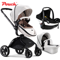 Hongkong free !Pouch baby stroller suspension folding child trolley baby bb car f90 Leather fabric baby stroller 3 in 1 baby car