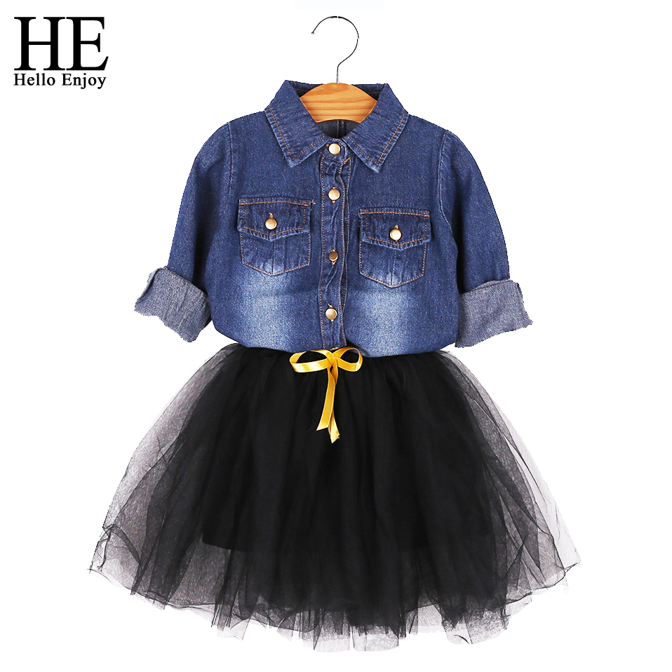 HE Hello Enjoy Girls Clothes Dress Spring Autumn Kids Dresses For Girls Long Sleeve Denim Shirt Bow Suits Children Clothing Set striped patchwork character girl dresses long sleeve cute mous kids clothing girls dress denim spring summer children clothes