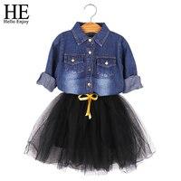 Hello Enjoy Casual Girls Clothes Bow Girls Denim Blouse Casual Shirt Tutu Skirt For Girls Casual