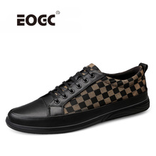 Купить с кэшбэком Autumn Style Men Shoes Soft Loafers High Quality Leather With Canvas Shoes Men Flats Comfortable Sneakers Zapatos Hombre