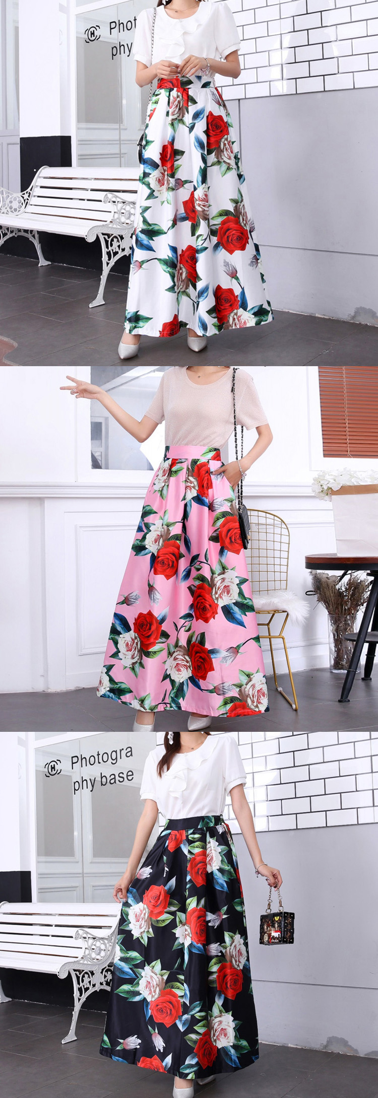 HTB1YpSeUxjaK1RjSZKzq6xVwXXa8 - Plus size Maxi Skirt Summer Fashion Vintage High Street A-line High Waist Floral Polka Dot Long Skirts for Women Jupe Longa