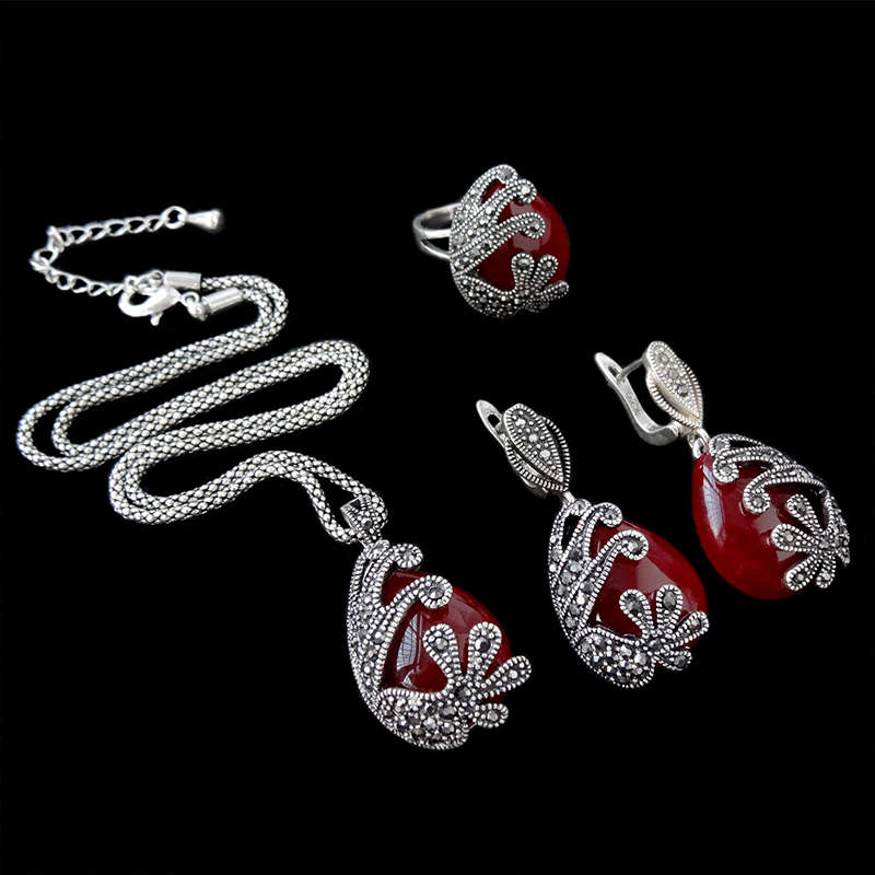 Sellsets Fashion Antique Silver Color Turkish Jewellery Set Vintage Black Crystal And Natural Stone Jewelry Sets For Women Gift