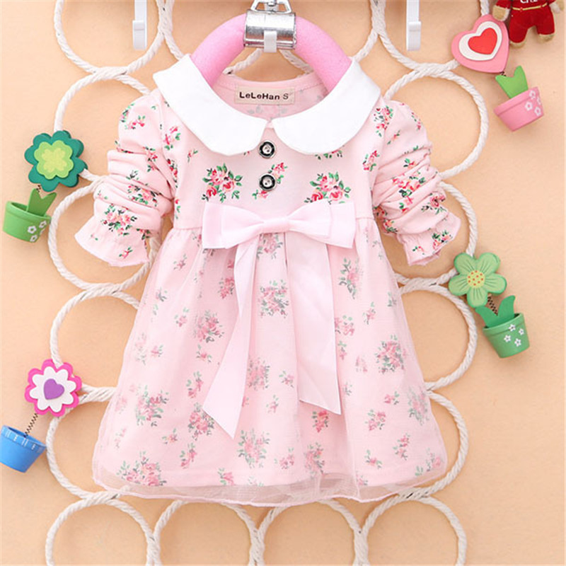 2017-Spring-New-Fashion-Baby-Girls-Cotton-Dress-Big-Bow-Infants-Nice-Floral-Dresses-2