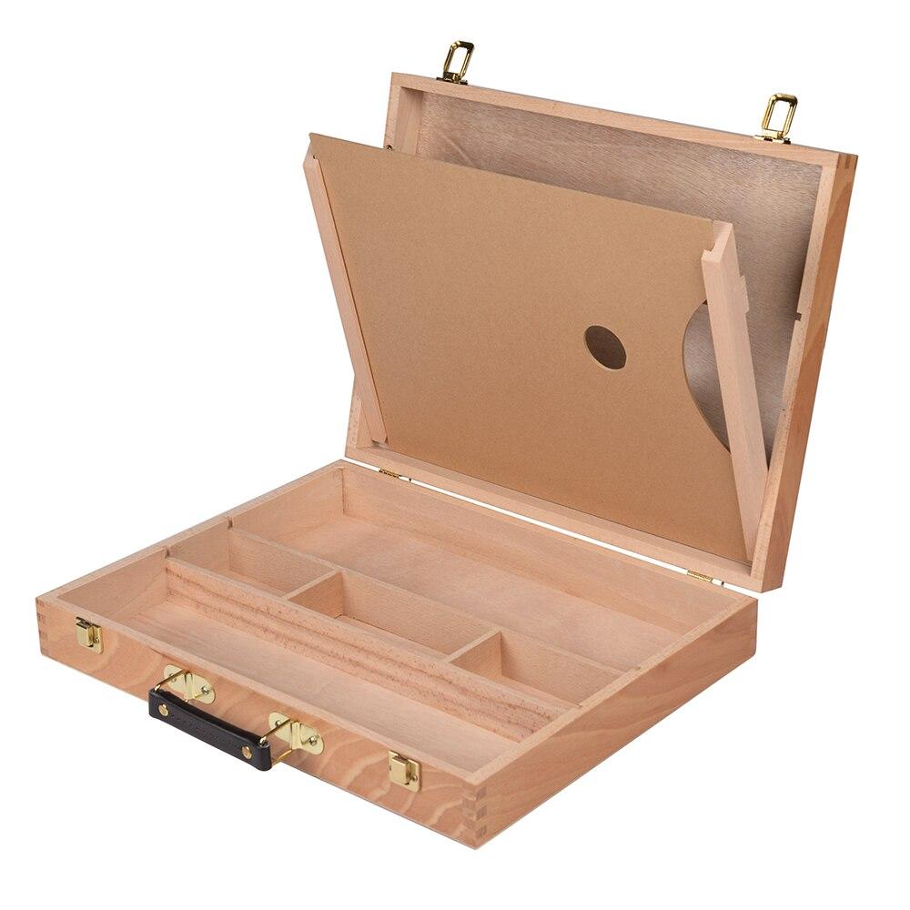 CONDA boîte de rangement en bois massif Portable avec Palette aquarelle peinture poignée multifonctionnelle peinture valise boîte Art fournitures