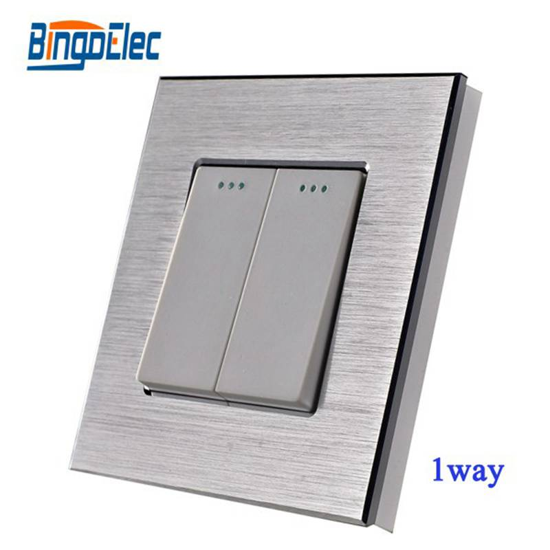 Hot Sale Home Improvement Three Color EU/UK Standard 2gang 1way Wall Switch Aluminum Panel Electrical Light Switch,AC110-250V scinder switched socket package 15 steel frame two or three five hole electrical outlet wall switch panel switch