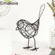 ERMAKOVA Bird Figurine Metal Handmade Iron Wire Bird Model Bird Ornaments Animal Figurine Home Office Desktop Decor Gift (Black)