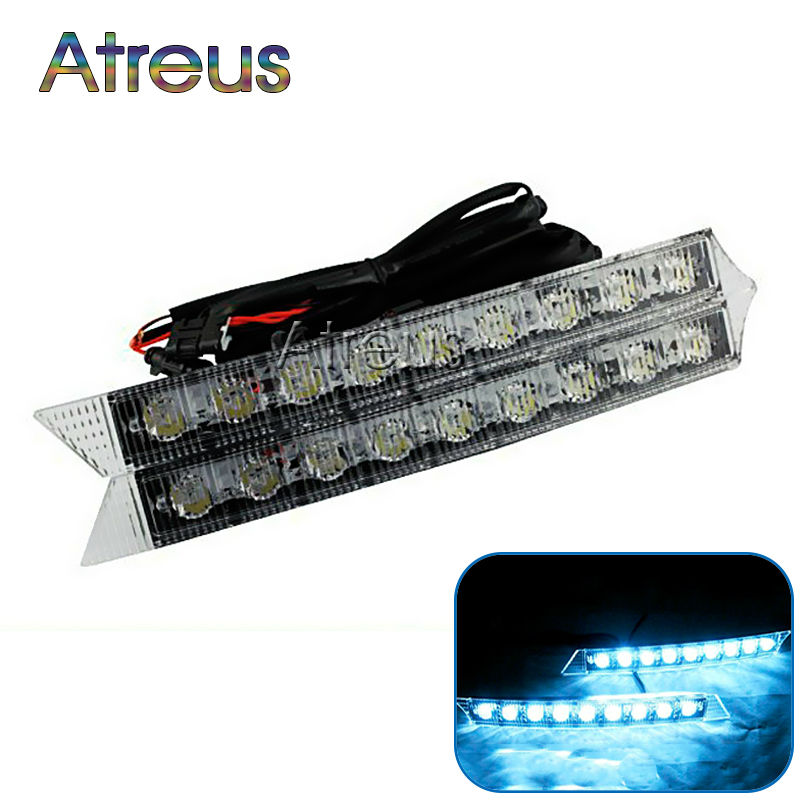 Atreus 1Pair Car LED Daytime Running <font><b>Lights</b></font> 12V DRL LED Fog Lamp White+Yellow turn signal For <font><b>Audi</b></font> A6 A4 B6 <font><b>A3</b></font> Car Accessories image