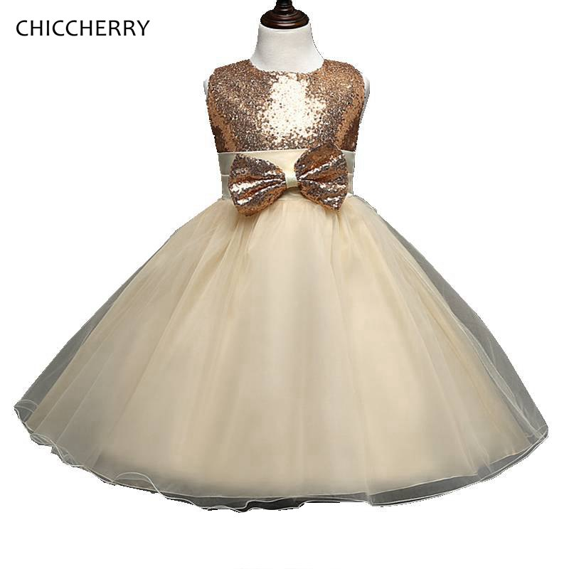 Brilliant Sequins Champagne Prom Dresses Girls Clothes Baby Girl Dress For Party And Wedding Graduation Gowns Children Clothing summer 2017 new girl dress baby princess dresses flower girls dresses for party and wedding kids children clothing 4 6 8 10 year