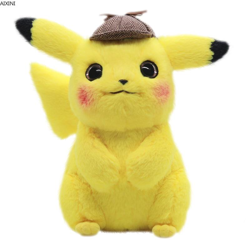 28 см Пикачу плюшевая игрушка, мягкая игрушка детектива Пикачу, японское видео, аниме-игрушки для детей, кукла для детей, подарок на день рождения, аниме