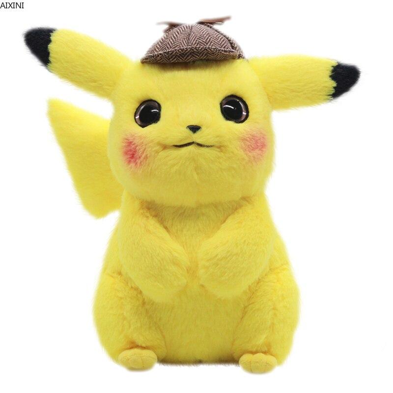 Detetive 28 centímetros Pikachu Brinquedo de Pelúcia Brinquedo de Pelúcia Pikachu Japão Anime Filme Brinquedos de pelúcia para Crianças Boneca para o Miúdo Do Bebê Aniversário presentes Anime
