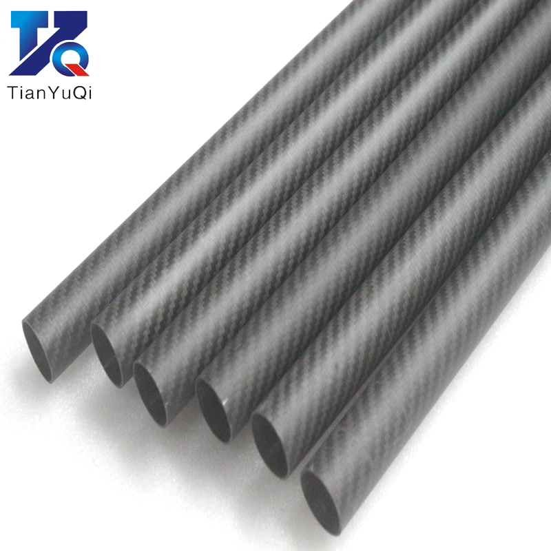 1PCS Twill Matte 3K Carbon Fiber Circular Tube Length 500mm High Hardness OD 8mm 10mm 12mm 16mm 20mm  25mm 30mm