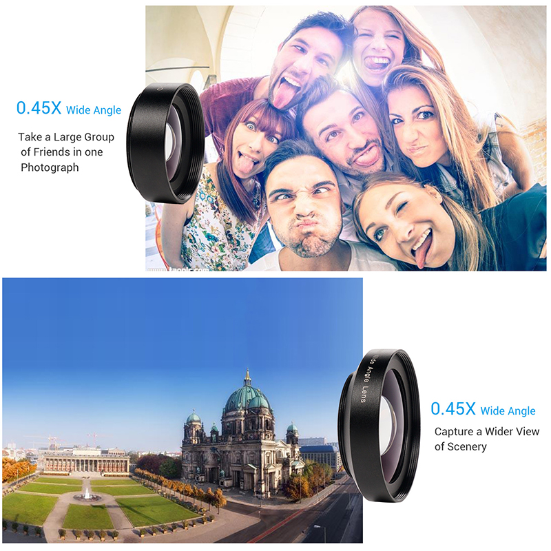 TURATA 2 in 1 HD Phone Len 52mm Calibre 37mm Kit Super 0.45X Wide Angle+15X Macro Clip-on Phone Camera Lens for Smartphone 7