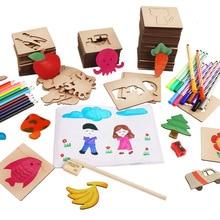 100 шт. набор деревянных игрушек для детей игрушки для рисования школы Краски инструменты Развивающая книжка-раскраска учиться рисовать раскраски
