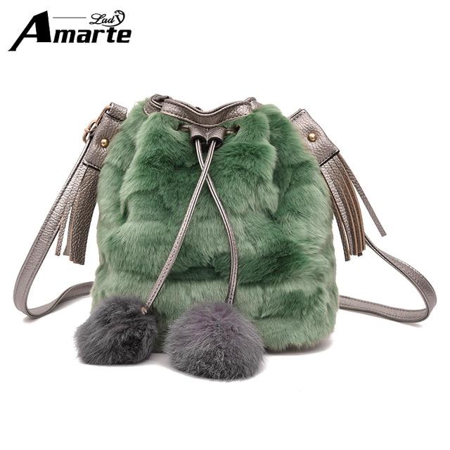52c214361d Amarte 2017 New Luxury Design Women Plush Shoulder Bags Women Fashion Casual  Tassel Totes Big Capacity Drawstring Bucket Bags