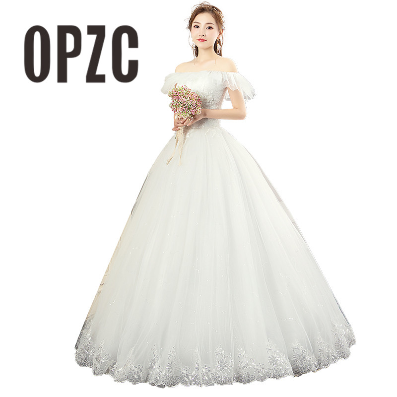 Sexy Korean Lace Up Cheap Ball Gown Wedding Dress 2018 Short Sleeve Boat Neck Off the
