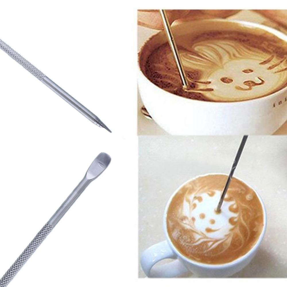 Cafe au lait kitchen decor - New Useful Stainless Steel Barista Cappuccino Latte Espresso Coffee Decorating Pen Art Household Kitchen Cafe Tool
