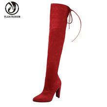 2016 New Women Stretch Faux Suede Slim Thigh High Boots Sexy Fashion Over The Knee High Boots High Heels Woman Shoes Black Gray