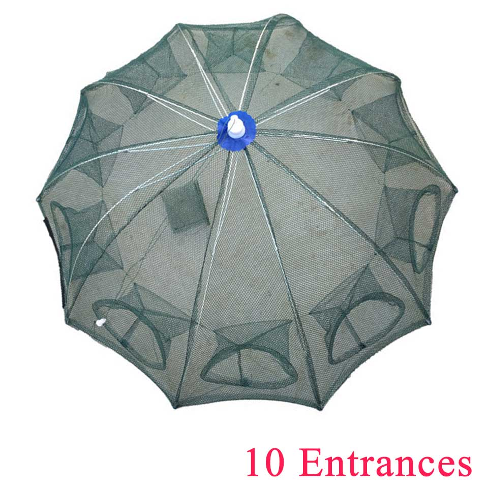 Image 5 - Fishing Net 4 16 Entrances Folded Portable Nylon Elasticity Shrimp Cage Foldable Crab Fish Trap-in Fishing Net from Sports & Entertainment