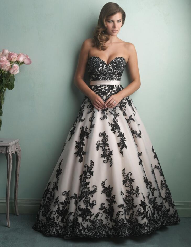 Ball Gown Sweetheart Black And Champagne Wedding Dresses 2016