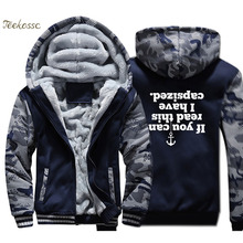 IF YOU CAN READ THIS I HAVE CAPSIZED Hoodie Men Upside Down Hooded Sweatshirt Coat Winter Thick Fleece Warm Camouflage Jacket