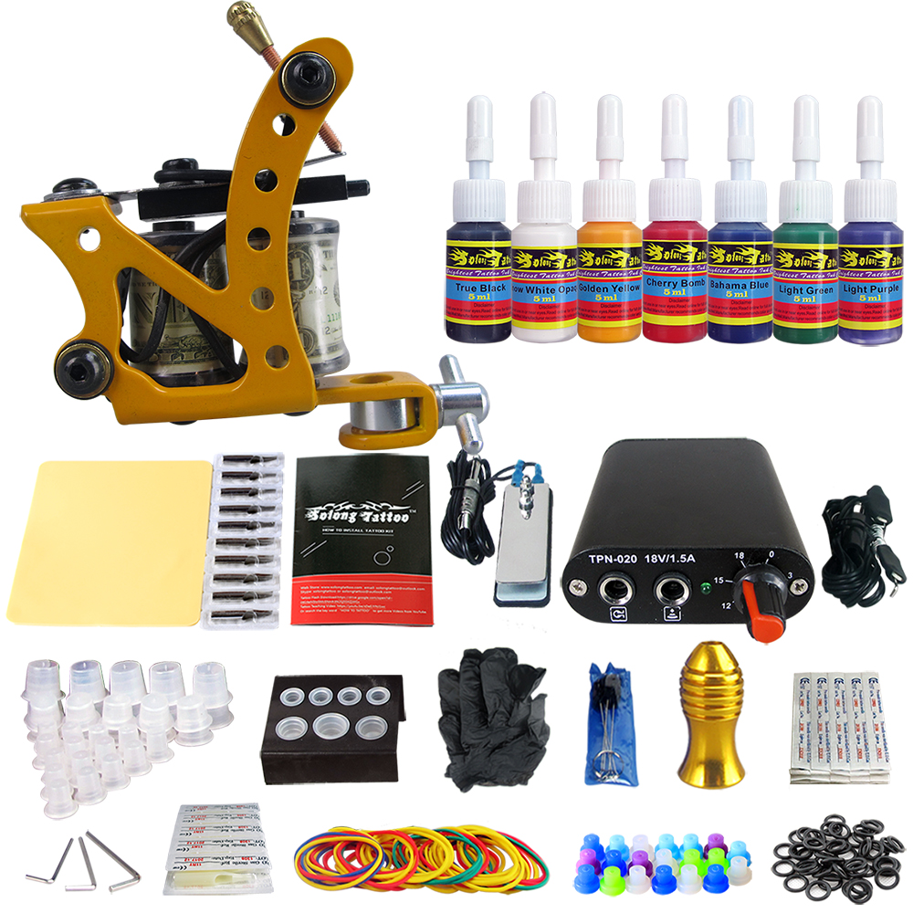 Tattoo Complete Beginner Tattoo Kit 1 Pro Machine Power Supply 7 color ink set TK105-73 professional tattoo kit 5 guns complete machine equipment sets teaching cd ink for beginners body art beauty tools tk 2509 m