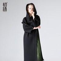 שמלת סוודר ארוך אופנה 2018 האביב Toyouth מכתבי סלעית רקמת שמלה מזדמן רופף צד חתך ארוך שרוולי שמלת גברת