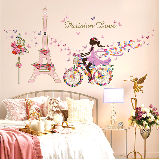 Girl Riding Bike Butterfly Flowers Effel Tower Parisian Love Wall Decals  Bedroom Mural Art Decorative Stikers Kids Gift
