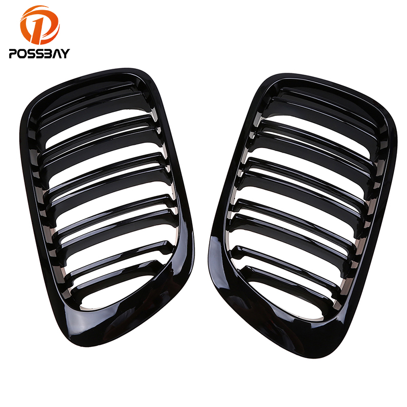 POSSBAY Front Kidney Grills Gloss Black Double Lines Grill for BMW 3-Series E46 Coupe 325Ci/328Ci/330Ci 1999-2003 Pre-facelift possbay matte black front center grille grilles for bmw 3 series e46 325ci 330cd 330ci m3 csl cabrio cabrio 2003 2006 facelift