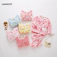 3 8T Flannel Kids Girls Pajamas 2019 Winter Warm Sleepwear Clothing Set Baby Girl Pyjamas Cute Princess Children's Home Clothes