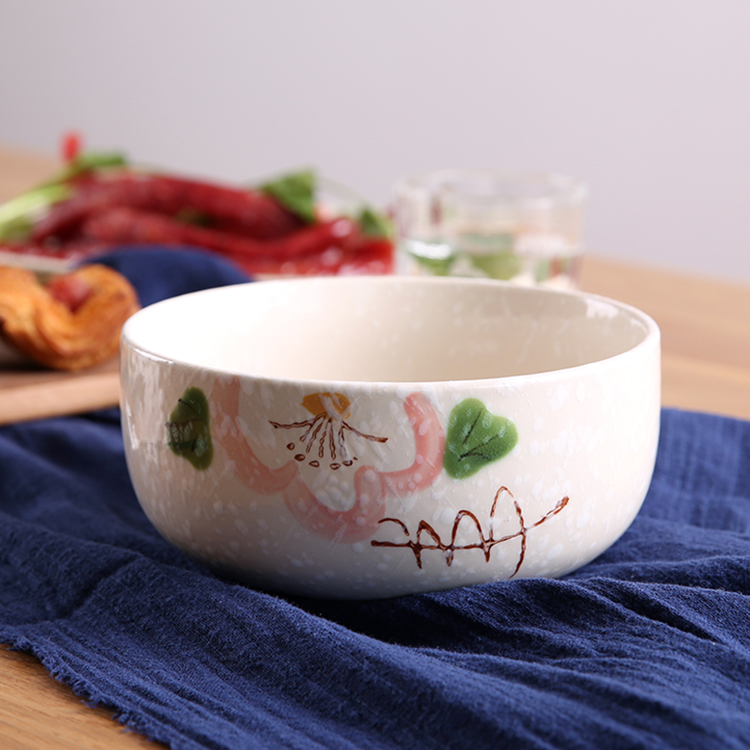 brand high quality ceramic bowls floral under glazed 7 inch noodle soup porcelain thicken tableware creative Japan style bowl