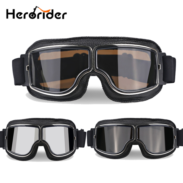 0902cd4565 Herorider Aviator WWII piloto Moto gafas Vintage Scooter gafas motocicleta  Vintage casco gafas Cruiser para Harley