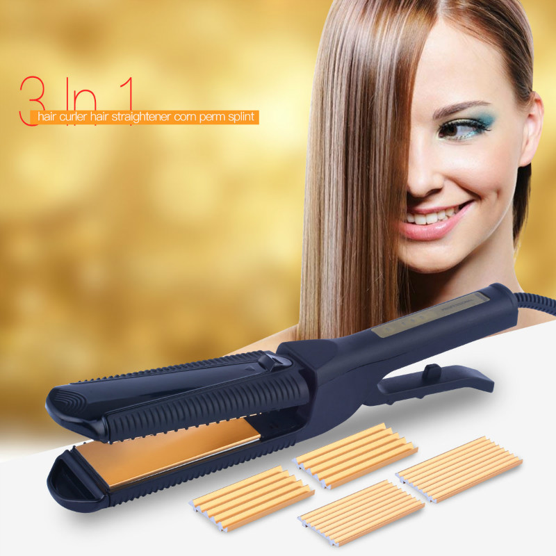 CkeyiN Interchangeable Temperature Control 3 in 1 Titanium Plate Hair Crimper Straightener Corn Waver Corrugated Curling Iron